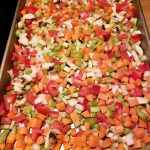 Chopped Veggies on a Sheet pan for Roasted Vegetable Soup - My Healthy Bites