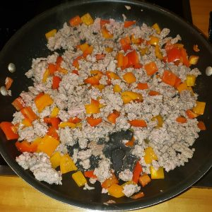 cooked ground turkey with peppers