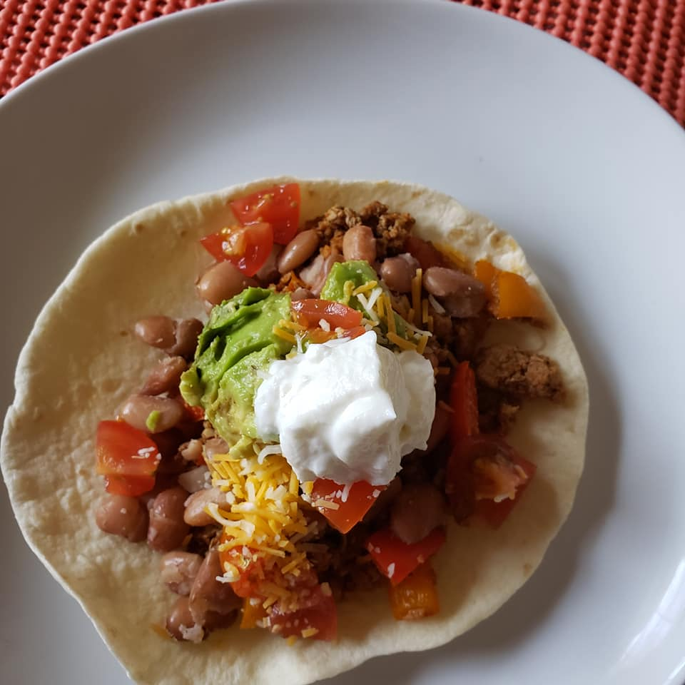 Ground turkey and veggie tacos
